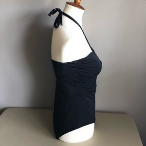 Victoria's Secret Swim - VS black one piece halter with ruched bodice SZ XL